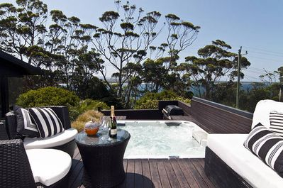 Sit in the spa sipping champayne after a hard day at the beach or after golf