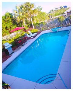 Private pool and spa. Gas grill and chairs to enjoy time together outdoors.