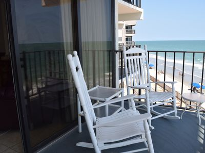 Rock away on this oceanfront balcony.