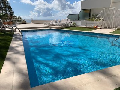 Large pool for sole use of just 12 apartments.  Heated Oct-April