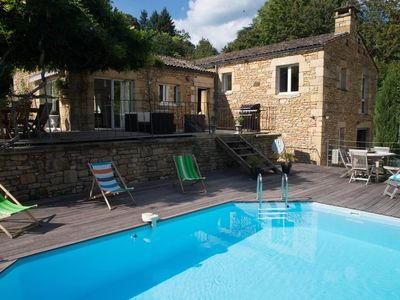Photo for 200 m from the medieval town, stone house, swimming pool, view of the cathedral