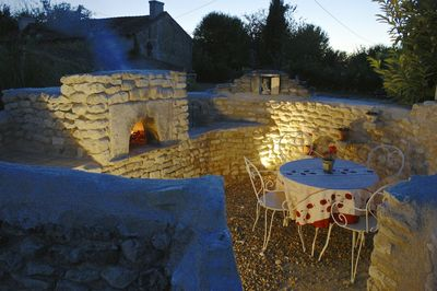 pizza/ bread oven, eating area.
