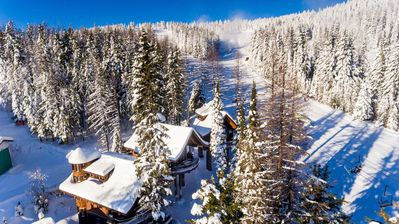 A Beautiful Aerial shot of the Chalets located just off the slope of chair three