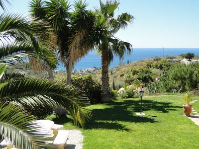 Photo for Holiday apartment with pool, garden, fantastic sea view of idyllic finca