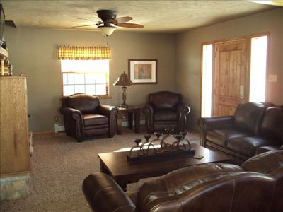 Living room: Micro-Suede Sectional & Gas Log Fireplace