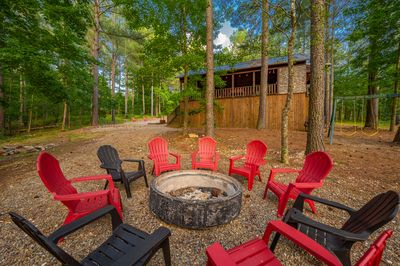 Firepit with ample seating just steps from the back deck.