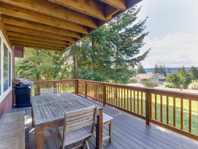 Photo for Charming home w/ two decks & views of Puget Sound - walk to the beach!