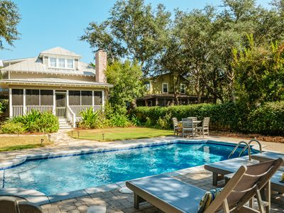 Photo for Steps from the Beach! Private Heated Pool! Golf Cart! Heart of Grayton!