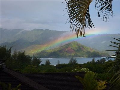 Rainbow over Hanalei Bay from upper lanai