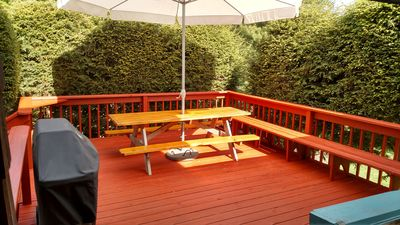 Large private deck with Weber grill