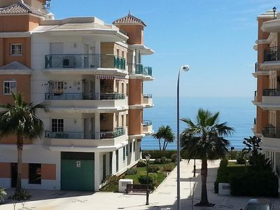 Photo for Beach Apartment, Sea Views & Rooftop Pool. Free Unltd WiFi & Sat TV channels