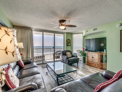 Photo for Crescent Shores 408, 3 Bedroom Beachfront Condo, Hot Tub and Free Wi-Fi!