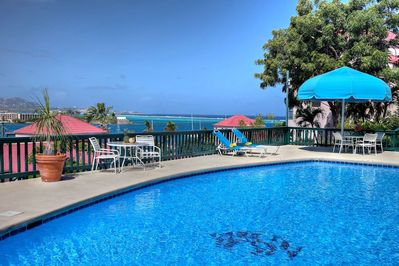 Crystal clear clean pool, fabulous ocean views, & no fight for lounge chairs.
