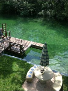 View from upstairs bedroom looking down on crystal clear Weeki Wachee River