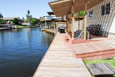 Canal deck with propane BBQ back yard