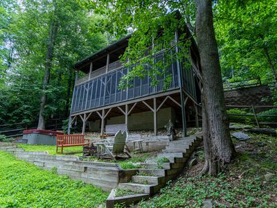 Photo for Katydid- Private Cabin with Hot Tub, Fireplace, Fire pit, Fenced Backyard, & Screened Porch