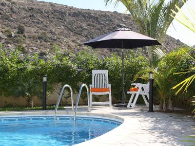 Photo for Holiday villa , at Pissouri bay , private pool , landscaped garden . Free Wi-Fi.