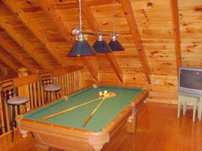 Loft with Pool Table and flat screen TV