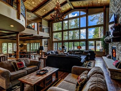Photo for Plush lakefront lodge w/hot tub, dock,theater room, game room