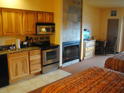 Photo for #7206 Studio w/Golf Course View, Private Patio, Kitchenette, Fireplace