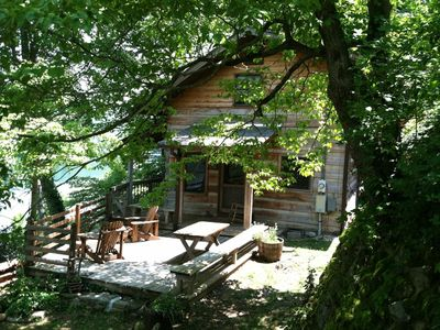Situated on the hillside over looking Lake Nantahala with breathtaking views.
