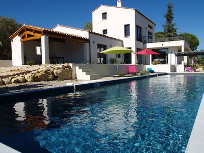 Photo for Modern villa Luberon south, 18m lap pool, panoramic view of Ste Victoire