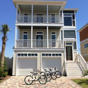4 beach cruisers are included with this beautiful 5 bedroom, 4 bathroom home.