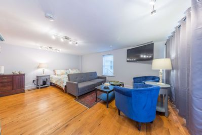 Great seating area and king sized bed - all in the heart of downtown Marblehead