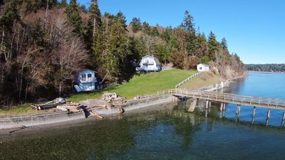 The Camano Compound on Elger Bay.  Guest house, Main House, Bunkhouse and dock.