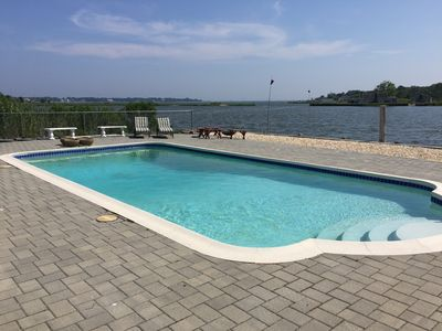 Photo for Beautiful Spacious Hamptons home: Tiana Bay Waterfront - Pool - Boat Dock