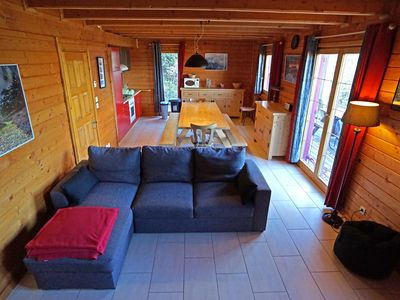 Photo for Beautiful wooden chalet 10 + p view lake sauna homecinema foot of the slopes, 5'centre 10 + p