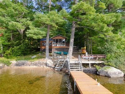 Photo for Lakefront cabin w/dock, deck, firepit, paddleboat, 1 dog OK