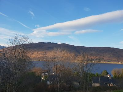 The stunning view from the living room window of Loch Linnhe