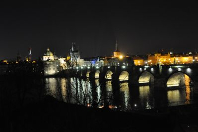 Night view of Charles Bridge from apartment