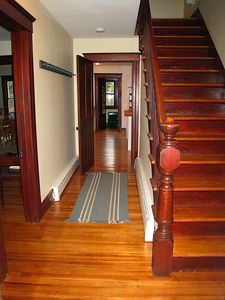 Entrance hall - all original woodwork.