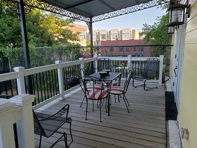 Great covered patio for morning coffee, dining or relaxing