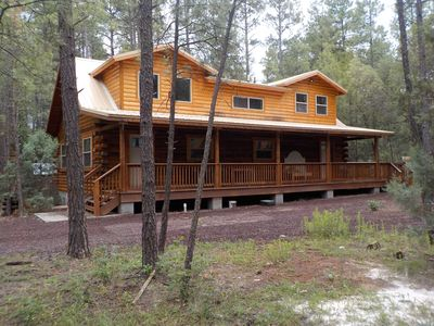 Photo for BRAND NEW GORGEOUS CABIN NESTLED IN THE PINES BY RAINBOW LAKE