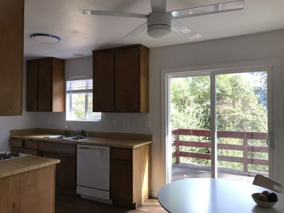 Kitchen area with expansive  canyon views . Larger refrigerator and dishwasher .