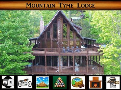 Photo for Mountain Tyme Lodge} Spectacular Mtn Views \ Hot Tub \ Pool Table \ WiFi
