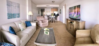"""Living Room - 52"""" TV with Netlix and extra comfortable furniture."""