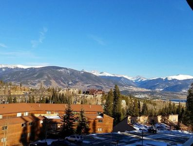 View from balcony of mountains and Lake Dillon