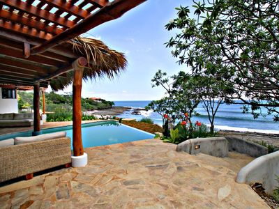 Outdoor living area with view of Playa Rosada!