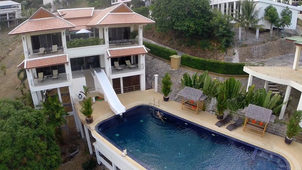 pool villa with a water slide sea views air conditioning gym massage