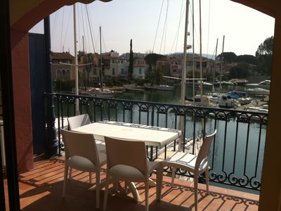 Photo for Apartment in lake city of Grimaud harbor with beautiful view