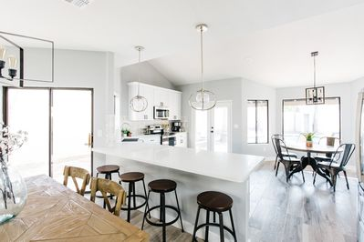 Large open Kitchen, Dining and Living Room.