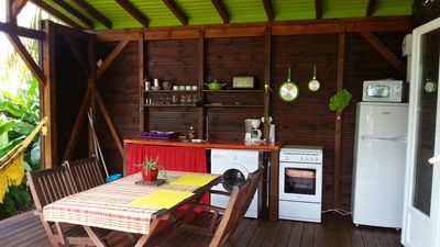 Photo for Air-conditioned wooden bungalow with swimming pool, SPA and direct access to the beach 2 person