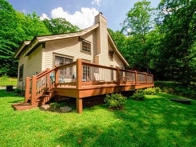 Photo for Unique chalet with large deck in wooded area for wildlife views!