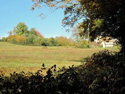 View of gite from below, still our own land