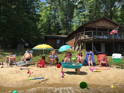 Photo for Log Cabin on the water with private sandy beach