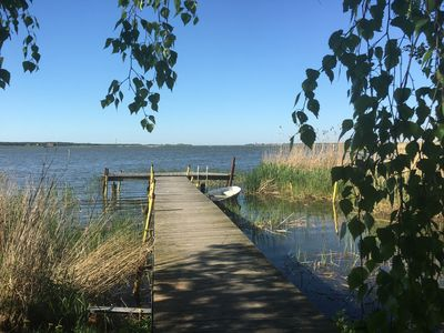 Photo for Lakefront house with lake view, lots of space, fireplace, boat dock and rowboat